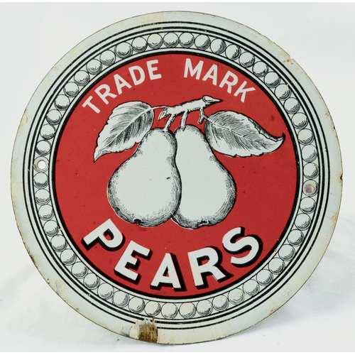 57 - PEARS ENAMEL SIGN. 7ins diam. Unusual circular shape, TRADE MARK/ PEARS with central pict. image on ...