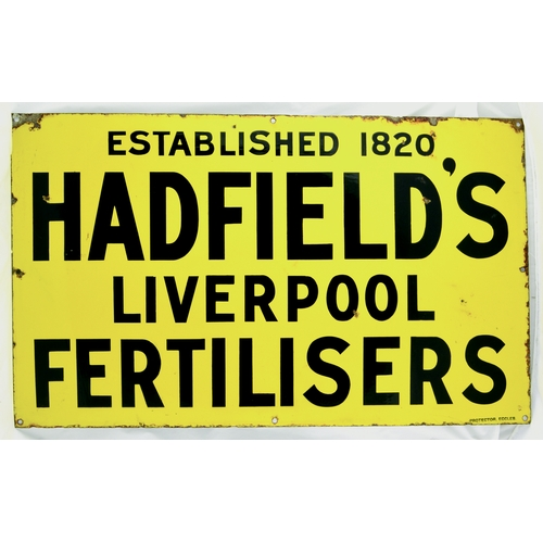 58 - LIVERPOOL FERTILISER ENAMEL SIGN. 30 by 18ins. Yellow background, ESTABLISHED 1820/ HADFIELDS/ LIVER...