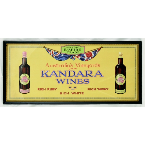 63 - KANDRA WINES FRAMED ADVERT. 25 by 11.5ins. Multicoloured adverts for KANDARA/ WINES... bottle of pro...