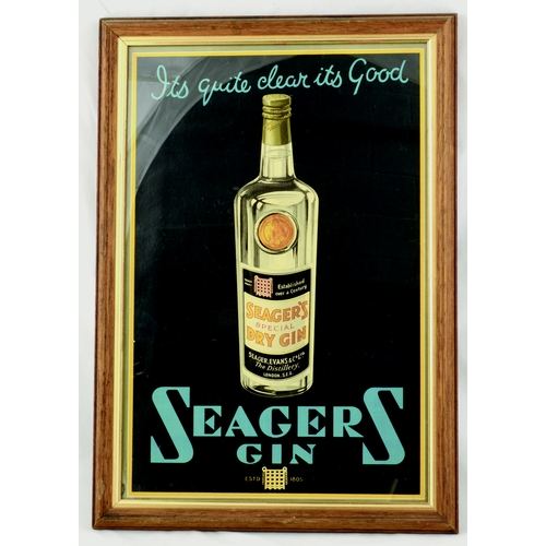 64 - SEAGERS GIN FRAMED ADVERT. 20 by 14ins. Multicoloured advert for SEAGERS/ GIN & bottle of product pi...