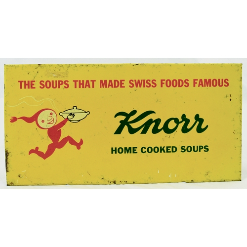 7 - KNORR SOUPS TIN ON CARD SIGN. 11.5 by 5.75ins. Rectangular shape sign, yellow background running imp...