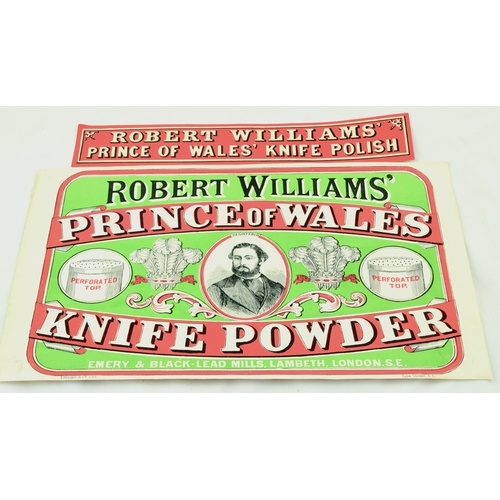 79 - RINCE OF WALES KNIFE POWDER LABELS. 17 by 11ins. Colourful paper labels for Robert Williams Prince o...
