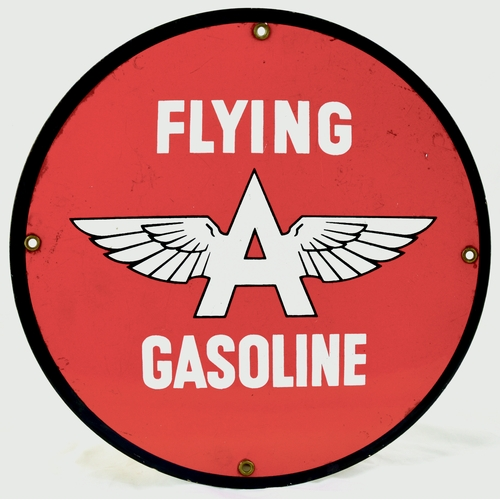 8 - FLYING 'A' GASOLINE ENAMEL SIGN. 11.75ins diam. Circular shape, red background FLYING/ (winged) A/ G...