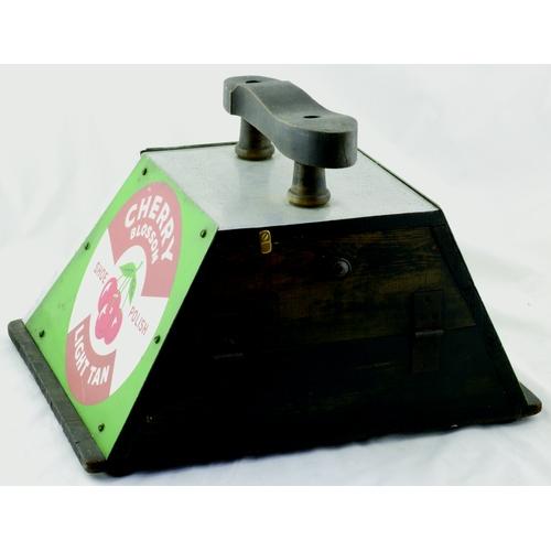 80 - CHERRY BLOSSOM SHOW POLISH SHOE SHINE BOX. 12 by 16ins. A Cherry Blossom shoe polish three sided sho...