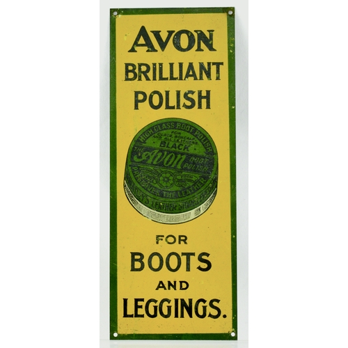 86 - AVON POLISH TIN FINGER PLATE. 8 by 3ins. tin finger plate for AVON/ BRILLIANT/ POLISH/ FOR/ BOOTS/ A...