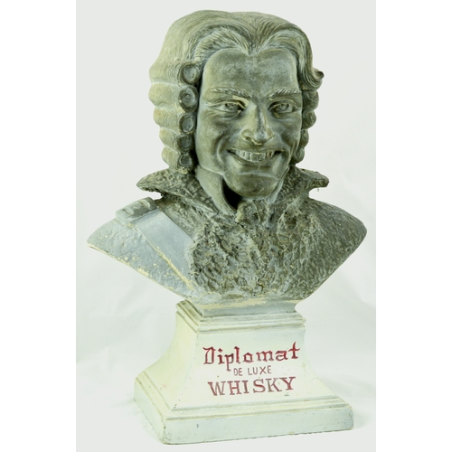 9 - DIPLOMAT WHISKY BACK BAR BUST FIGURE. 17.5 by 12.5ins tall. Plaster construction, Cavalier type bust...