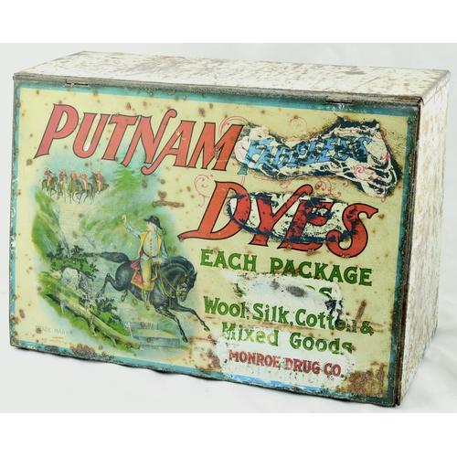 91 - PUTNAM DYES SHOP DISPLAY PIECE. 16 by 11ins. Vintage Putnam Dyes Tin & wood display Monroe Drug Co. ...