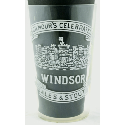 93 - GILMOURS ALES & STOUTS GLASS. 4.5ins tall. Clear glass printed for GILMOURS CELEBRATED/ WINDSOR/ ALE...