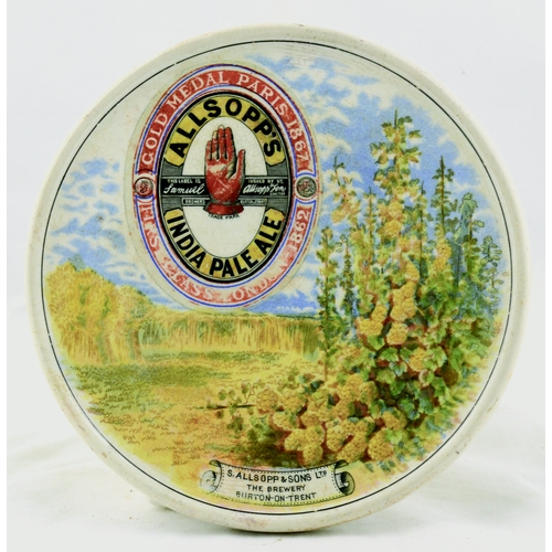 95 - ALLSOPS INDIAN PALE ALE COASTER. 6ins diam. Ceramic coaster for ALLSOPPS/ INDIAN PALE ALE with red h...