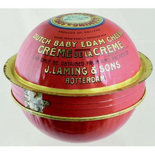 112 - J LAMING & SONS CHEESE TIN. 6ins diam. Colourful, spherical shape advertising J. LAMING & SONS/ EDAM...