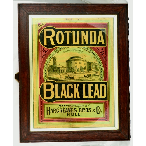 113 - HULL BLACK LEAD FRAMED SHOWCARD. 24 by 19ins. Showcard advertising ROTUNDA/ BLACK LEAD/ HARGREAVES B...