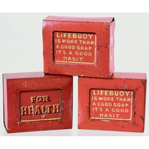116 - LIFEBOUY MINIATURE TINS TRIO. 1.5 by 1.25ins. Three variations of miniature Lifebuoy Soap tins. Gene...