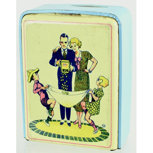 121 - 1930'S MONEY BOX. 5 by 4ins. Childrens money box tin with period family image front. Money meter to ...
