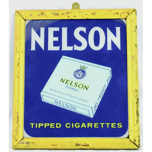 125 - NELSON TIPPED CIGARETTES FRAMED GLASS ADVERT. 11.5 by 10ins. Wooden framed painted glass pane for NE...