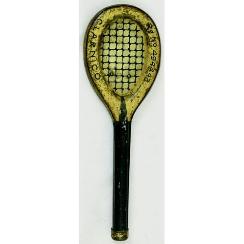 140 - CLARNICO TENNIS RACKET TIN. 4.25ins tall. Miniature tennis racket shaped tin for CLARNICO & Rd No 49...