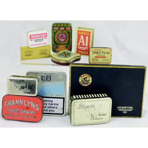 142 - TINS GROUP. Largest 6ins. Mainly tobacco related inc. Franklyns Fine Shagg, Three Nuns, Lambert & Bu...