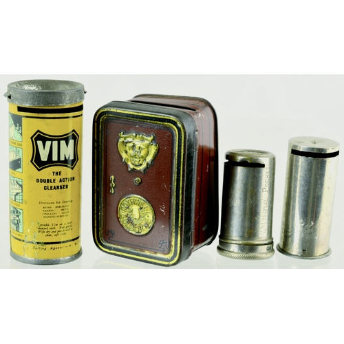 144 - MINIATURE MONEY TINS GROUP. Largest 2.75ins. magic pocket savings bank, 1 formed as a safe, other ad...