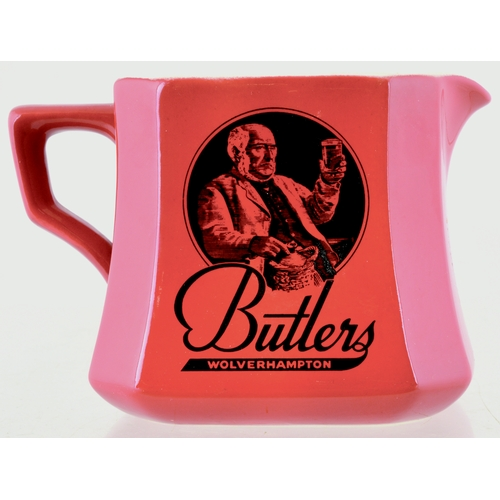 145 - BUTLERS WOLVERHAMPTON PUB JUG. 3.5ins tall. All red square bodied jug with facetted corners. Large b...