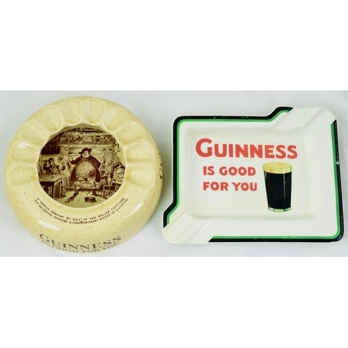 147 - GUINNESS ASHTRAYS DUO. Duo of Wiltshaw & Robinson period ashtrays - circular mid cream example with ...