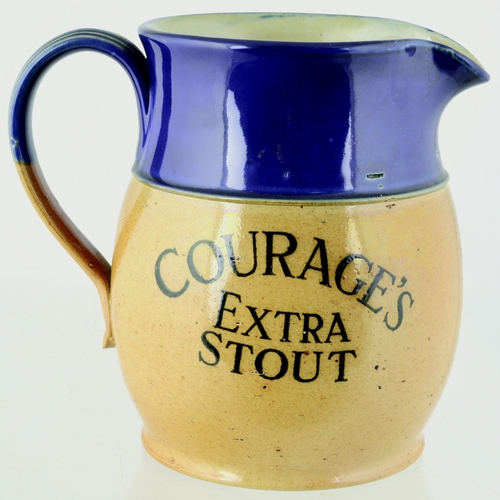 159 - COURAGES EXTRA STOUT JUG. 6ins tall. A wonderful large stoneware Doulton made blue topped handled ju...