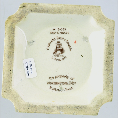 160 - WORTHINGTON MATCHSTRIKER. Base 3.75ins square, chamferred corners. Lettering 2 sides, coloured King ...