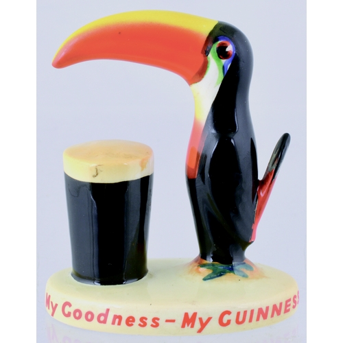 162 - GUINNESS TOUCAN FIGURE. Coloured toucan & glass of Guinness sat on a plinth with My Goodness My Guin...