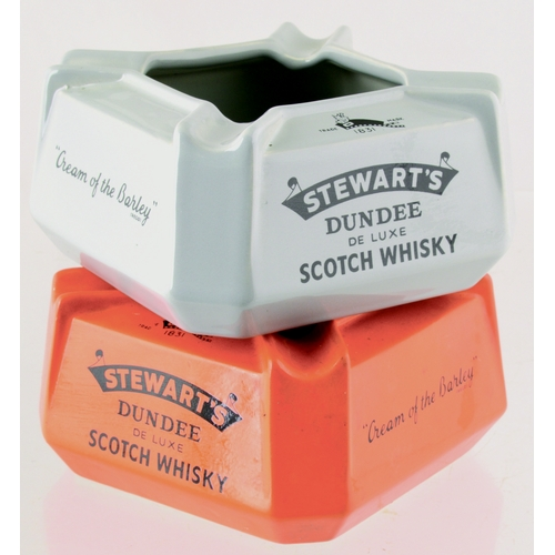 171 - DUNDEE STEWARTS WHISKY ASHTRAY DUO.Both 4.5ins base diam, square with facetted corners. One bright o...