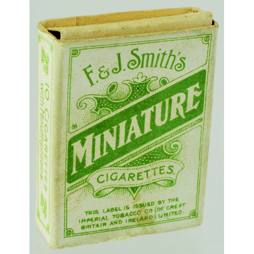 173 - F. & J. SMITHS PACKET OF MINIATURE CIGARETTES. 1.5ins tall, green print on off white card. F & J Smi...