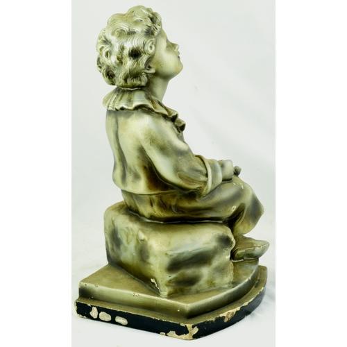 175 - PEARS BUBBLES FIGURE. 14.4ins tallpainted plaster of Paris cast figure of the famous Bubbles boy. Go...