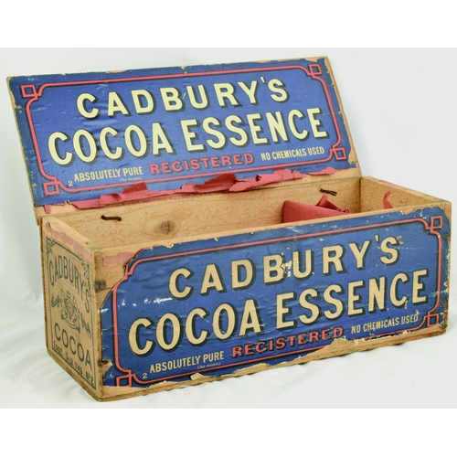 183 - ADVERTISING BOXES TRIO. Largest 11.5 by 8ins. Chocolate boxes for Cadburys Cocoa Essence, Frys Choco...