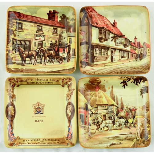 188 - BASS ASHTRAYS GROUP. 4ins diam. 3 different pictorial images of pubs advertsiing Bass ale & 1 Commem...