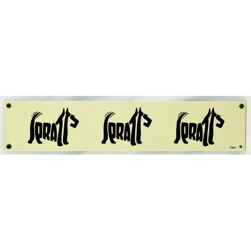 190 - SPRATTS ENAMEL SIGN. 20 by 4ins. Rectangular shape, 3 pict. dog images formed out of the word Spratt...