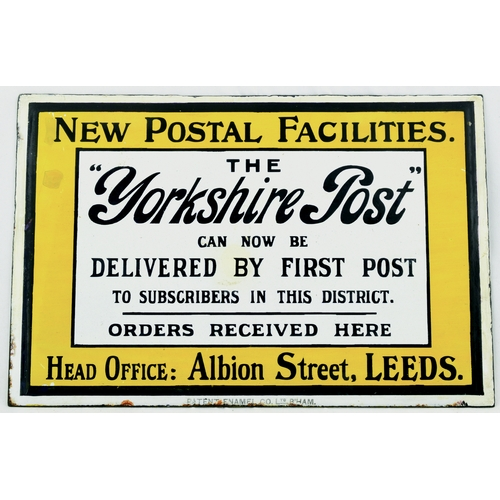 193 - THE YORKSHIRE POST LEEDS ENAMEL SIGN. 12 by 8ins. Rectangular shape, ...THE/ YORKSHIRE POST/... HEAD...