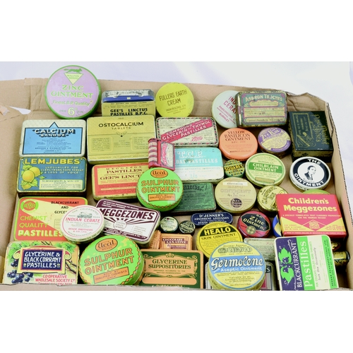 198 - TINS GROUP. Largest 4ins. Varied mix mainly ointments, inc. Healo, Zinc, Germolene, Ucal Brand etc. ...