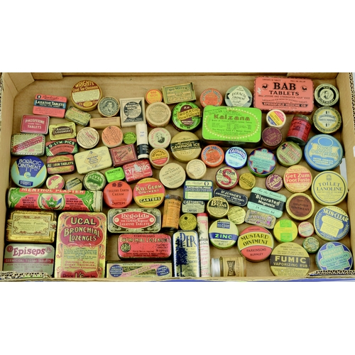 202 - TINS GROUP. Largest 5ins tall. Varied mix of pharmaceutical tins inc. Regoid Laxative Tablets, Musta...