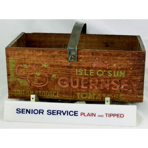 203 - GUERNSEY TOMATOES WOODEN BOX PLUS SENIOR SERVICE SHELF EDGE. Box 15 by 6ins. Wooden construction wit...