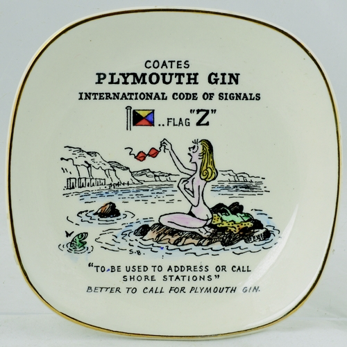 210 - PLYMOUTH GIN NUT/ASHTRAYS GROUP. 5ins diam.Large group of Plymouth Gin nut/change trays, depicting c...