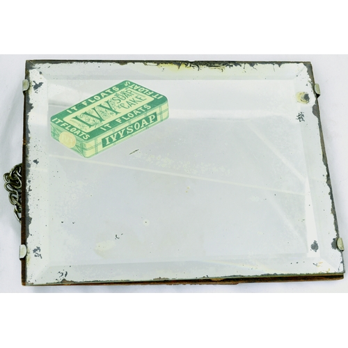 215 - IVY SOAP CAKE MIRROR. 9 by 7ins. Bevelled edge mirror advertising IVY SOAP CAKE pict. image top L co...