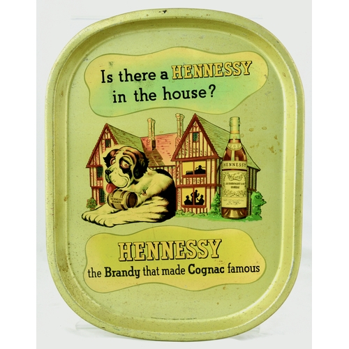 219 - HENNESEY COGNAC TRAY. 16 by 12.5 ins. Rounded rectangular shape tray, central pict. image, slogan ab...