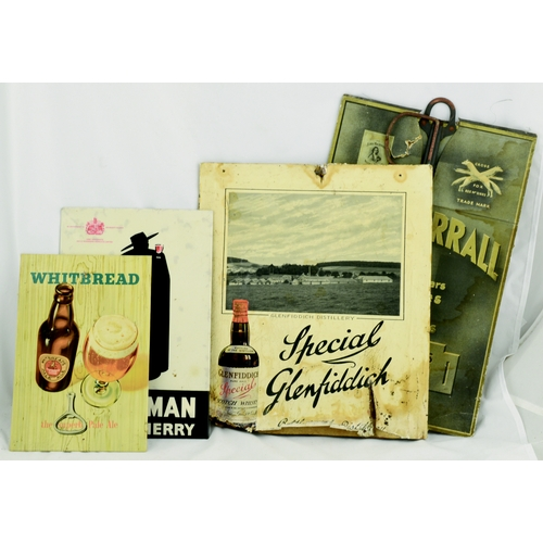 228 - MIXED ADVERTS GROUP. Various brewery showcard & tin on card adverts for Whitbread, Sandeman & Glenfi...