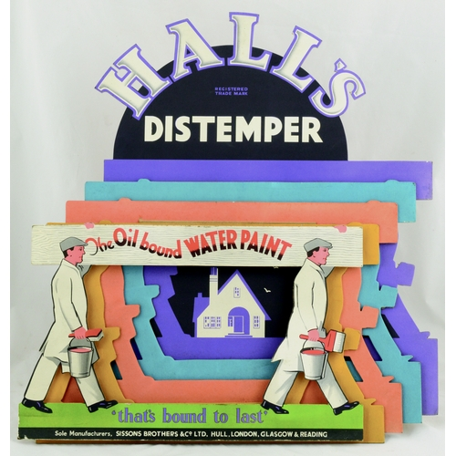 229 - HALLS DISTEMPER STAND-UP ADVERT. 20 by 18ins. Multicoloured cut-out stand up card shop display adver...