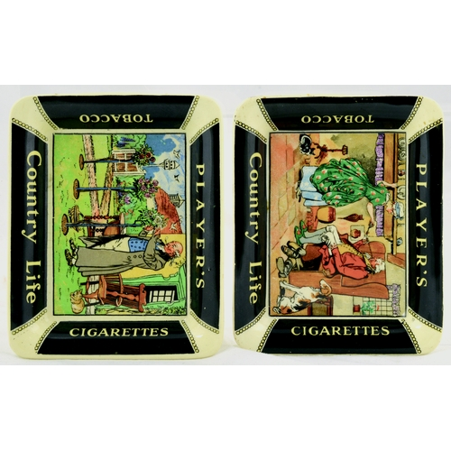 230 - PLAYERS ASHTRAYS DUO. 4.5 by 3.5ins. Ashtray pair for PLAYERS/ COUNTRY LIFE/ CIGARETTES/ TOBACCO. Mu...