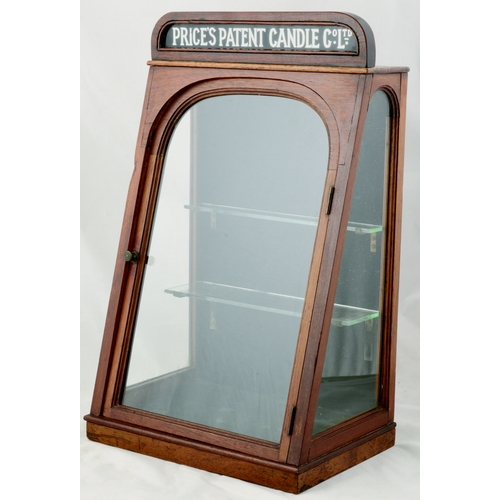 236 - PRICES PATENT CANDLE CO DISPLAY CABINET. 18 by 10.5ins. Wooden, wedge shape shop display cabinet fro...