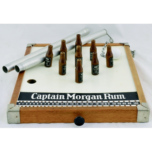 253 - CAPTAIN MORGAN RUM SKITTLES GAME. 16 by 13ins. Pre 1970s Vintage Captain Morgan Rum branded Table Sk...