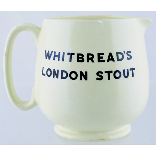258 - WHITBREADS STOUT JUG. 4ins tall. Off white glaze, black transfer WHITBREADS/ LONDON STOUT either sid...