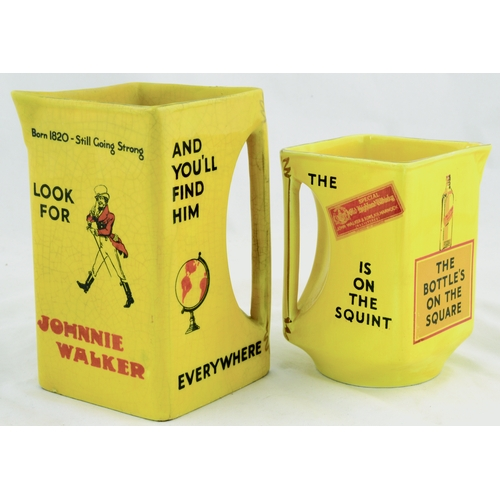 268 - JOHNNIE WALKER WHISKY WATER JUGS DUO. Tallest 6.25ins. Pair of water jugs, bright yellow glaze with ...