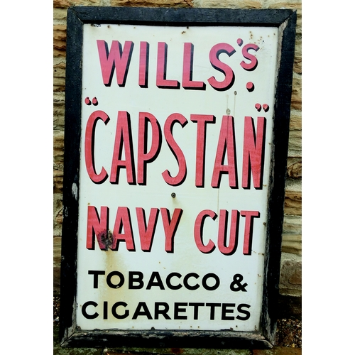 272 - WILLS CAPSTAN NAVY CUT ENAMEL SIGN. 52 by 34ins. Large size framed enamel sign for WILLS S/ CAPSTAN/...