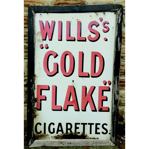 273 - WILLS GOLD FLAKE ENAMEL SIGN. 52 by 34ins. As previous lot with wording WILLS S/ GOLD/ FLAKE/ CIGARE...
