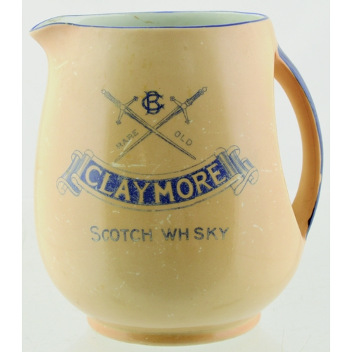 274 - CLAYMORE WHISKY WATER JUG. 4.5ins tall. Dark cream glaze, blue transfer for CLAYMORE/ SCOTCH WHISKY ...