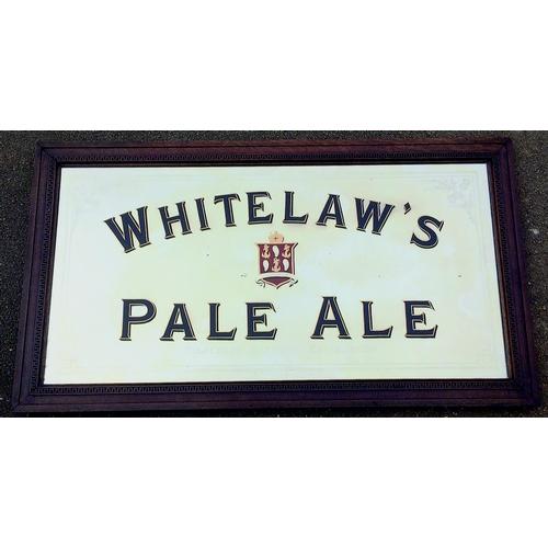 279 - EDINBURGH WHITELAWS BREWERY MIRROR. 58 by 32ins. Wooden framed mirror, etched border design, WHITELA...